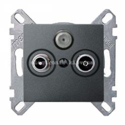 Розетка TV/R+SAT индидуальная Schneider Electric Merten System M антрацит
