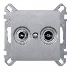 Розетка TV проходная Schneider Electric Merten System M алюминий