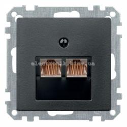 Розетка компьютерная двойная RJ45 UTP Schneider Electric Merten System M антрацит