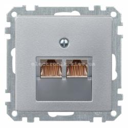 Розетка компьютерная двойная RJ45 UTP Schneider Electric Merten System M алюминий