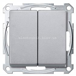 Выключатель 2-клавишный Schneider Electric Merten System M алюминий
