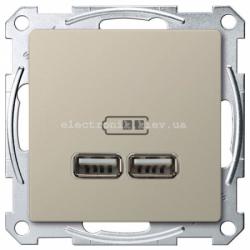 Розетка USB 2-ая (для подзарядки), цвет Сахара, Schneider Merten D-Life