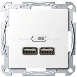 Розетка USB 2-ая (для подзарядки), цвет Белый лотос, Schneider Merten D-Life