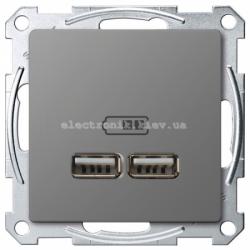 Розетка USB 2-ая (для подзарядки), цвет Сталь, Schneider Merten D-Life