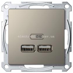 Розетка USB 2-ая (для подзарядки), цвет Никель, Schneider Merten D-Life