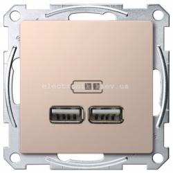 Розетка USB 2-ая (для подзарядки), цвет Шампань, Schneider Merten D-Life