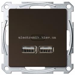 Розетка USB 2-ая (для подзарядки металлическая), цвет Мокка, Schneider Merten D-Life