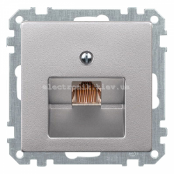 Розетка компьютерная RJ45 1-ная UTP Schneider Electric Merten System M алюминий