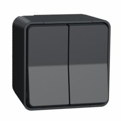Двухклавишный переключатель в сборе IP55, для поверхностного монтажа, черный Mureva Styl Schneider Electric MUR35022