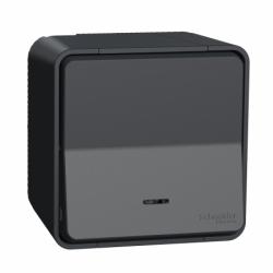 Кнопочный выключатель с подсветкой в сборе IP55, для поверхностного монтажа, черный, Mureva Styl Schneider Electric MUR35028