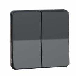 Механизм двухклавишного кнопочного выключателя IP55, черный, Mureva Styl Schneider Electric MUR35326