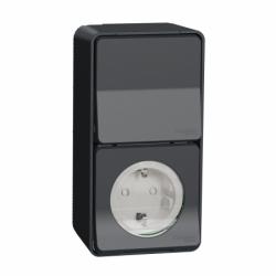 Блок из розетки и переключателя в сборе IP55, для поверхностного монтажа, черный, Mureva Styl Schneider Electric, MUR36024