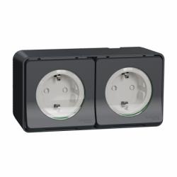 Блок с двух розеток с заземлением и шторками IP55, черный, для поверхностного монтажа Mureva Styl Schneider Electric MUR36029