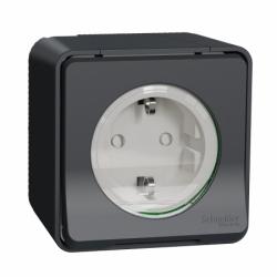 Розетка с заземлением и шторками IP55, черная, для поверхностного монтажа Mureva Styl Schneider Electric MUR36034