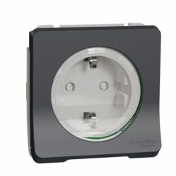 Механизм розетки с заземлением и шторками IP55, черный Mureva Styl Schneider Electric MUR36134