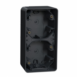 Двухместный бокс для поверхностного монтажа вертикальный IP55, черный, Mureva Styl Schneider Electric MUR37912