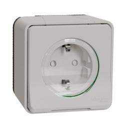 Розетка с заземлением и шторками IP55, белая, для поверхностного монтажа Mureva Styl Schneider Electric MUR39034