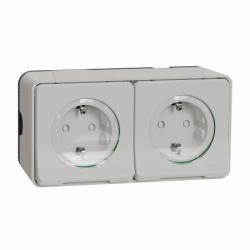 Блок с двух розеток с заземлением и шторками IP55, белый, для поверхностного монтажа Mureva Styl Schneider Electric MUR39035