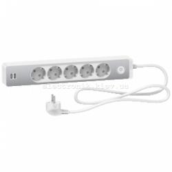 Удлинитель 5-й с заземлением+2*USB алюминий/белый 1.5 метра Schneider Unica Extend