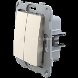 Кнопка-вимикач без фіксації двоклавішна PLANK слоновая кость