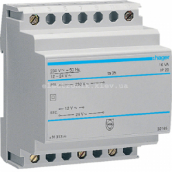 Трансформатор на DIN-рейку, 230В/24 В (0,67А), 230В/12 В (1,33А)
