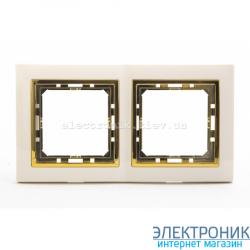 Рамка 2-ая Tesla LXL крем/золотой