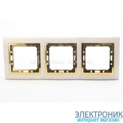 Рамка 3-ая Tesla LXL крем/золотой