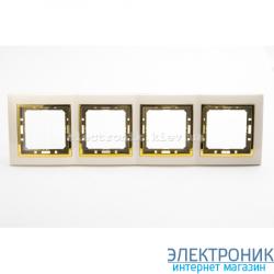 Рамка 4-ая Tesla LXL крем/золотой