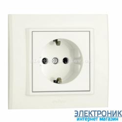 Розетка MINA 1-я с з/з белая OVIVO