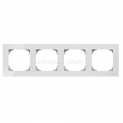 Рамка четверная ABB SKY белое стекло