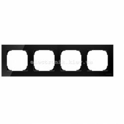 Рамка четверная ABB SKY черное стекло