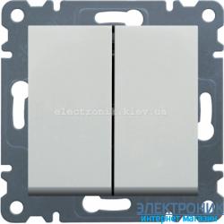 Выключатель 2-двухклавишный проходной Hager Lumina2 белый