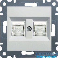 Розетка компьютерная двойная  Hager Lumina2  CAT 5e X2 белая