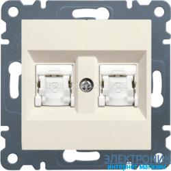 Розетка компьютерная двойная Hager Lumina2  CAT 5e X2 крем