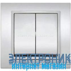 Механизм Выключатель двухклавишный EL-BI Zena Silverline Серый