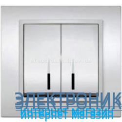 Механизм Выключатель двухклавишный с подсветкой EL-BI Silverline Серый