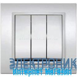 Механизм Выключатель трехклавишный EL-BI Zena Silverline Серый