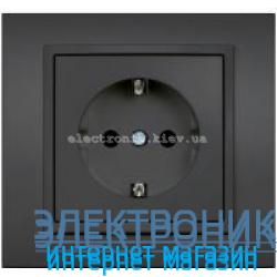 Механизм Розетка с заземлением EL-BI Zena Silverline Дымчатый