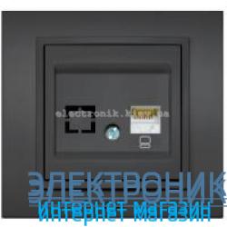 Механизм Розетка компьютерная EL-BI Zena Silverline Дымчатый