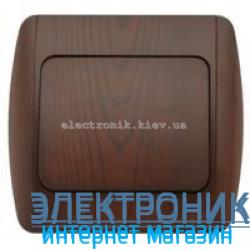 Выключатель 1-клавишный античный орех EL-BI Zirve Woodline