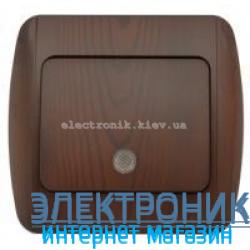 Выключатель 1-клавишный с подсветкой.LED античный орех EL-BI Zirve Woodline