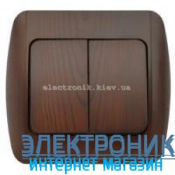Выключатель 2-клавишный античный орех EL-BI Zirve Woodline