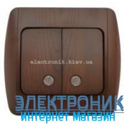 Выключатель 2-клавишный с подсветкой.LED античный орех EL-BI Zirve Woodline