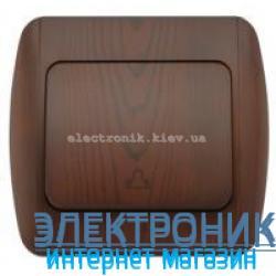 Выключатель 1 клавишный Звонок античный орех EL-BI Zirve Woodline