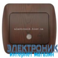 Выключатель 1клавишный проходной с подсветкой LED античный орех EL-BI Zirve Woodline
