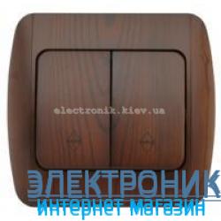 Выключатель 2-клавишный проходной античный орех EL-BI Zirve Woodline