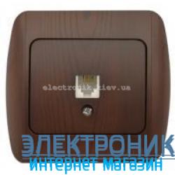 Розетка одинарная телефонная RJ11 античный орех EL-BI Zirve Woodline