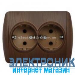 Розетка двойная с заземлением античный орех EL-BI Zirve Woodline