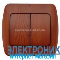 Выключатель 2-клавишный вишня EL-BI Zirve Woodline
