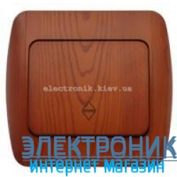 Выключатель 1-клавишный проходной вишня EL-BI Zirve Woodline